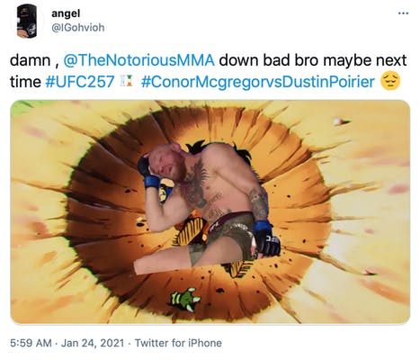 """""""damn ,  @TheNotoriousMMA  down bad bro maybe next time #UFC257 #ConorMcgregorvsDustinPoirier Pensive face"""" McGregor photoshopped into an anime impact crater"""