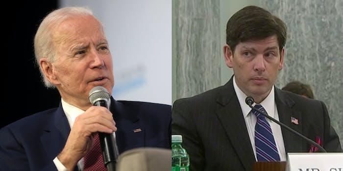 Joe Biden and FCC Commissioner Nathan Simington.
