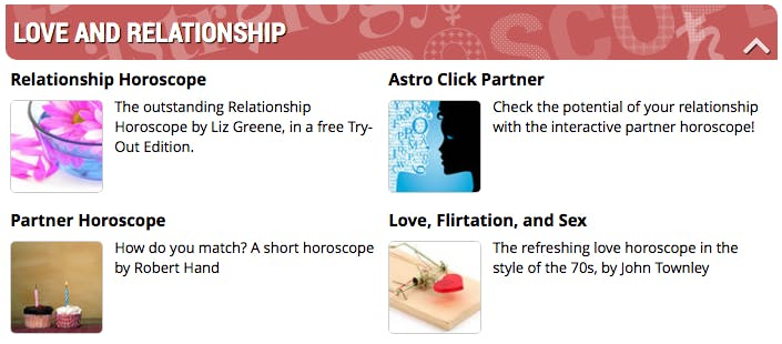 A screen grab of the psychic love readng offers from Astro.com