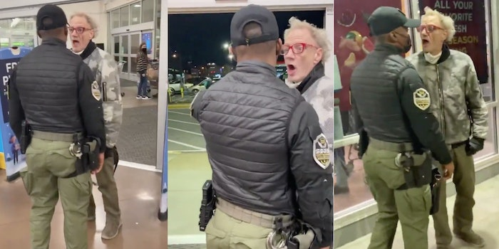 Video shows anti-masker confronting security guard.