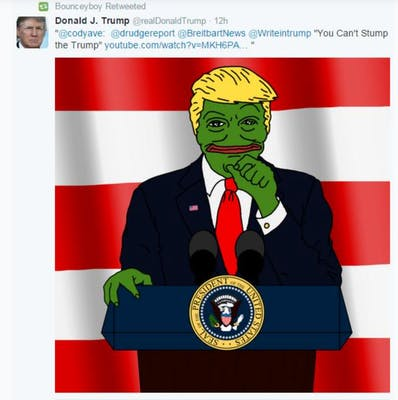 Trump as Pepe the frog