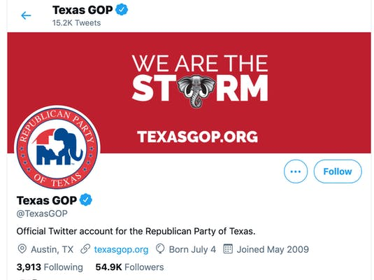 photo of texas gop header that says we are the storm