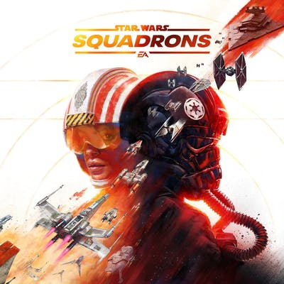 The cover art for EA's Star Wars: Squadrons. The game's Star Wars logo mirrors earlier, old school Star Wars video games.