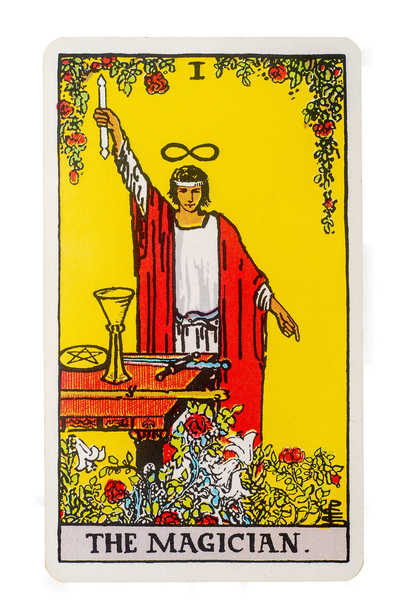 The magician card from the Rider-Waite deck. Features an image of a person standing in front of an alter with their hand raised and holding a double ended candle.