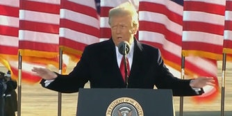 President Donald Trump at a farewell ceremony on Inauguration Day. In his speech he told his supporters to 'have a good life.'