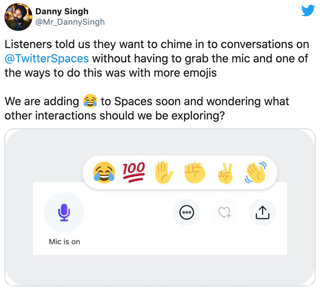 Twitter employee shares emoji features on Twitter Spaces