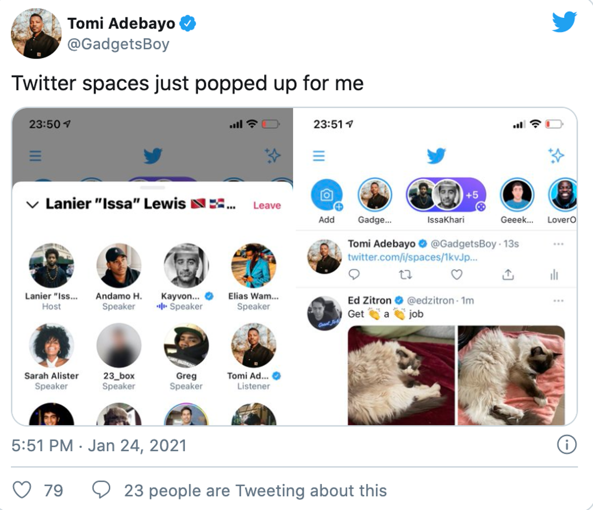 People are noticing that Twitter Spaces are now available for them
