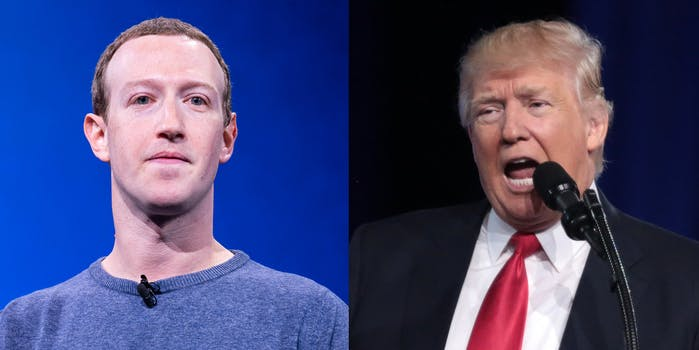 Mark Zuckerberg and Donald Trump. Zuckerberg said it is extending its block on Trump's account 'indefinitely' following the riot at the U.S. Capitol.