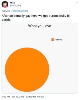 """""""After acidentally gay Ken, we get purposefully bi barbie."""" A Venn diagram in orange with the circle labelled what you love and the colour key labelled to see it"""