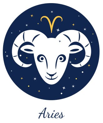 """Aries symbolized by the ram and a """"V""""-like shape."""