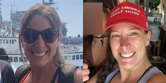 Ashli Babbit in front of a ship (L), wearing Make America Great Again hat (R)