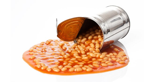 can of beans spilling out