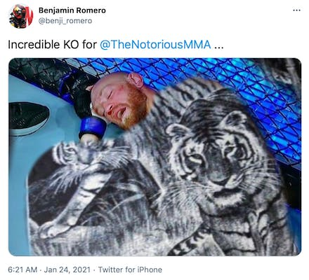 """""""Incredible KO for  @TheNotoriousMMA  ..."""" McGregor with a black and white fuzzy blanket featuring a pair of tigers photoshopped over him"""