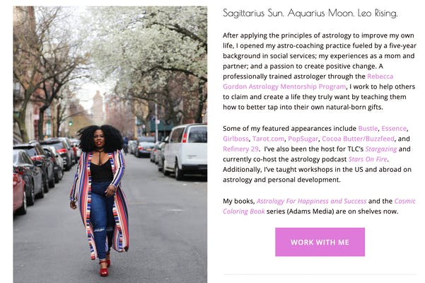 Photo of Mecca's biography page for an online astrology reading