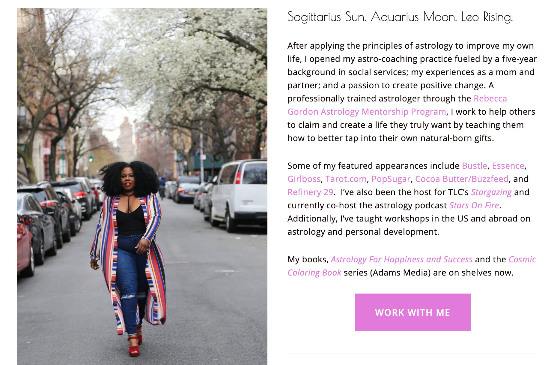 Photo of Mecca's biography page. Features an image of her walking down the street on the left, and a short biography explaining how and why she got into astrology on the right.