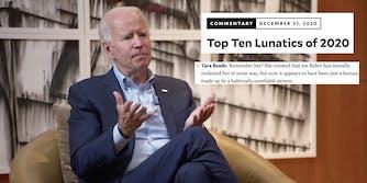 President-elect Joe Biden next to a Mother Jones headline