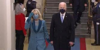 Joe Biden and Jill Biden enter 2021 presidential inauguration.