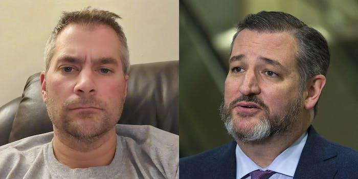 Slain officer Brian Sicknick (L) professional sycophant Ted Cruz (R)