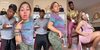 "man and 9 months pregnant woman doing tiktok ""buss it"" challenge, going from casual clothes to high fashion"