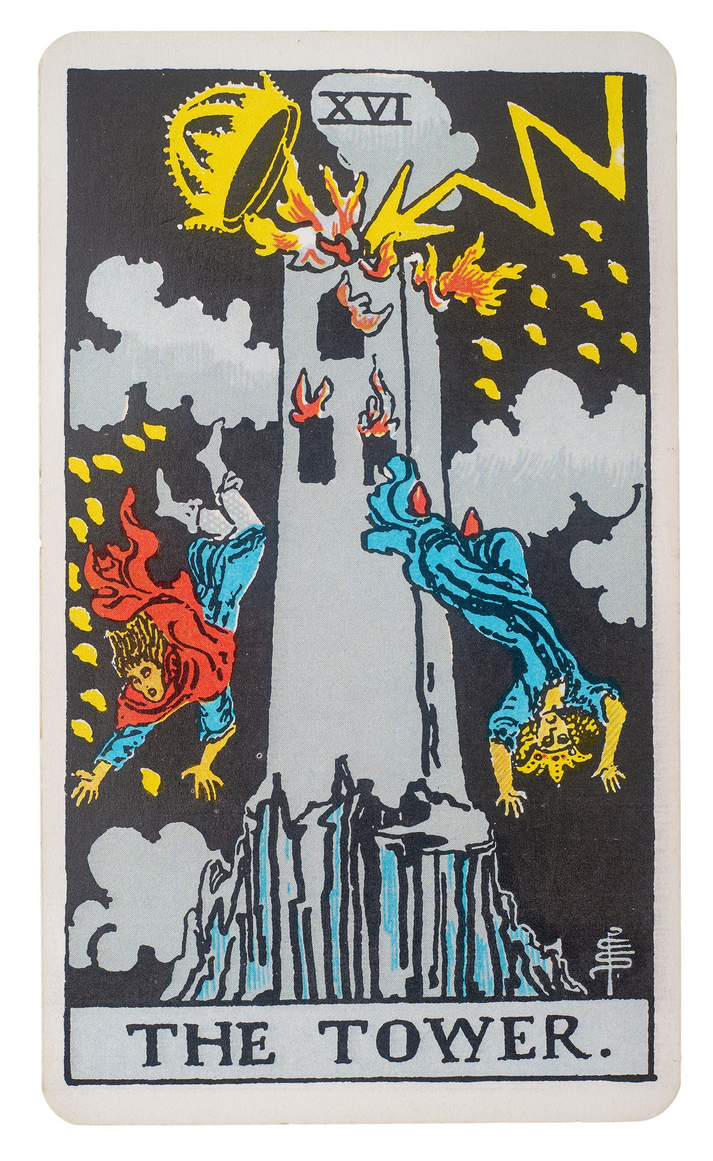 The tower card from the rider-waite deck. Features an image of a tower being struck by lightening and people jumping out of the windows before the building is destroyed.