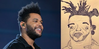 the weeknd with a drawing of the weeknd