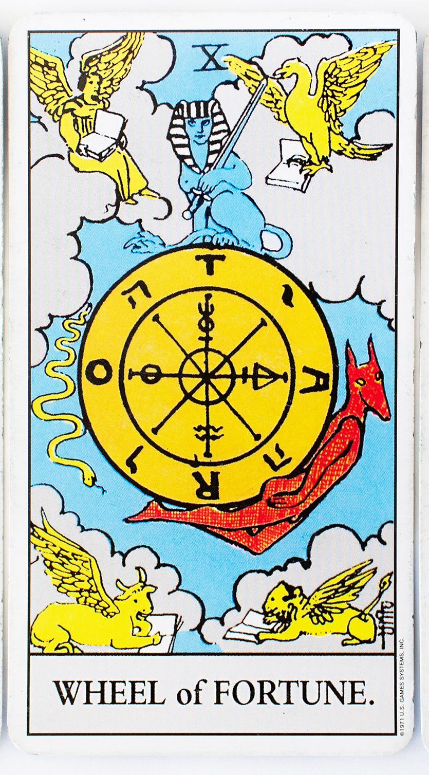 The wheel of fortune card from the Rider-waite deck. Illustration of a gold wheel with the devil holding it up from the bottom and angelic figures above.