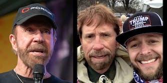 chuck norris (L) man who looks like chuck norris with domestic abuser Matt Bledsoe (R)