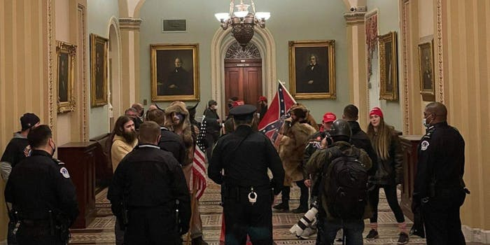 A Confederate flag in the U.S. Capitol building