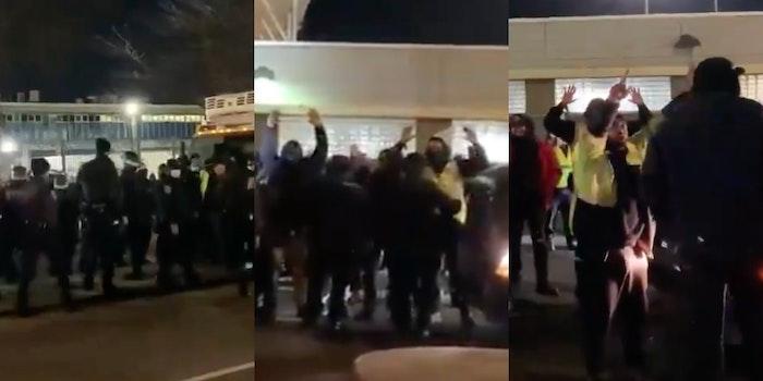Cops arrest NYC wage strikers video