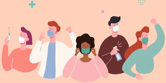 Illustration of people wearing masks, spraying disinfectant, and a doctor holding a vaccine for COVID-19.