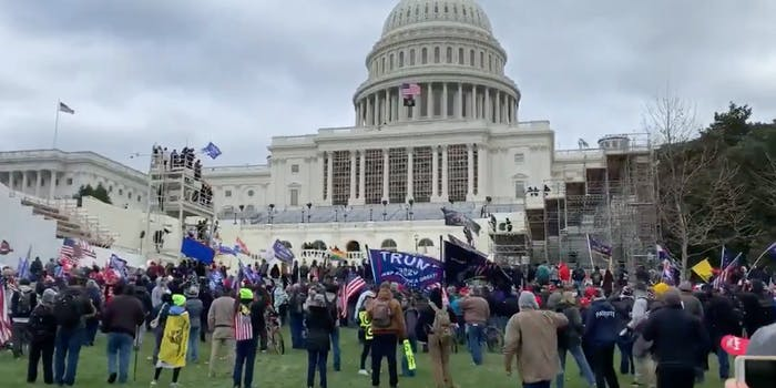 Trump supporters storming the U.S. Capitol building