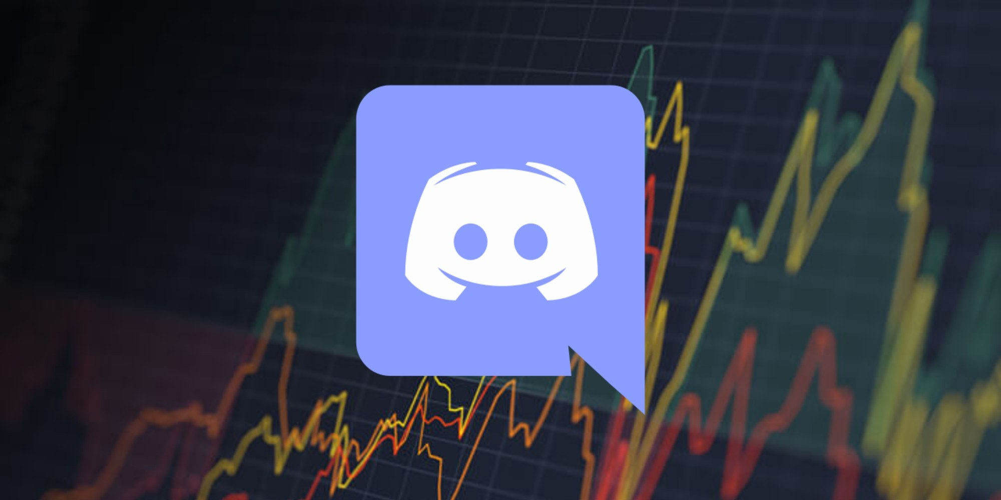 The Discord logo over a stock chart