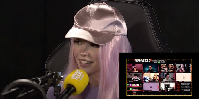 A picture of streamer Belle Delphine is overlaid with a screenshot of Dream discussing her video.