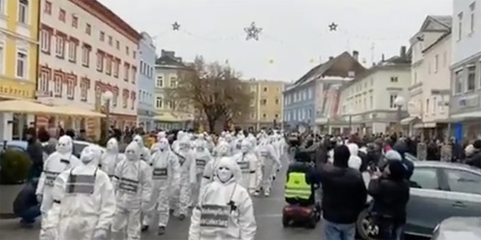 european anti-covid protesters weird flash mob