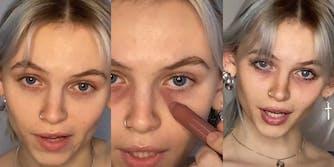 young woman puts dark makeup around her eyes