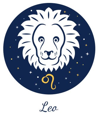 Leo is represented by a lion and a tadpole looking signature.