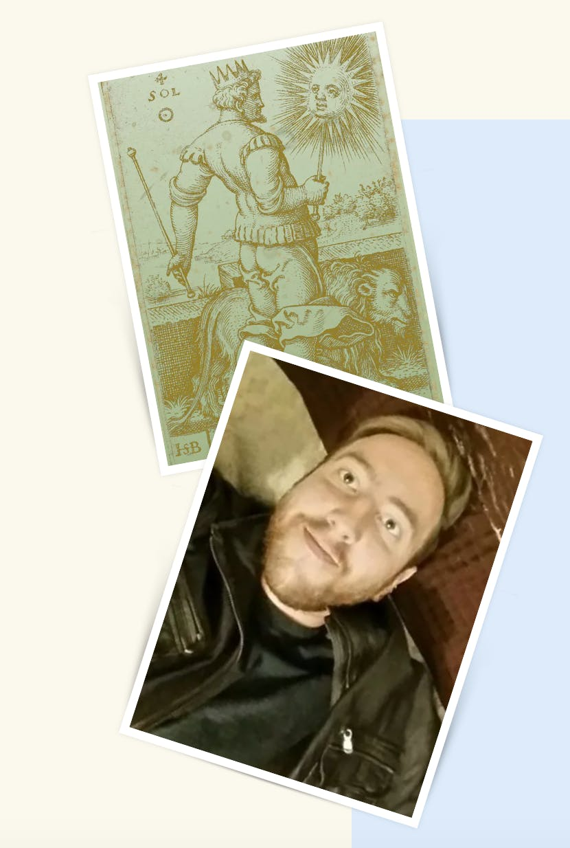 Selfie of Jake is juxtaposed with an image of a tarot card.