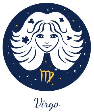 Virgo is represented by a woman (referred to as the virgin) and an 'M'-like symbol where the last leg crosses over itself.