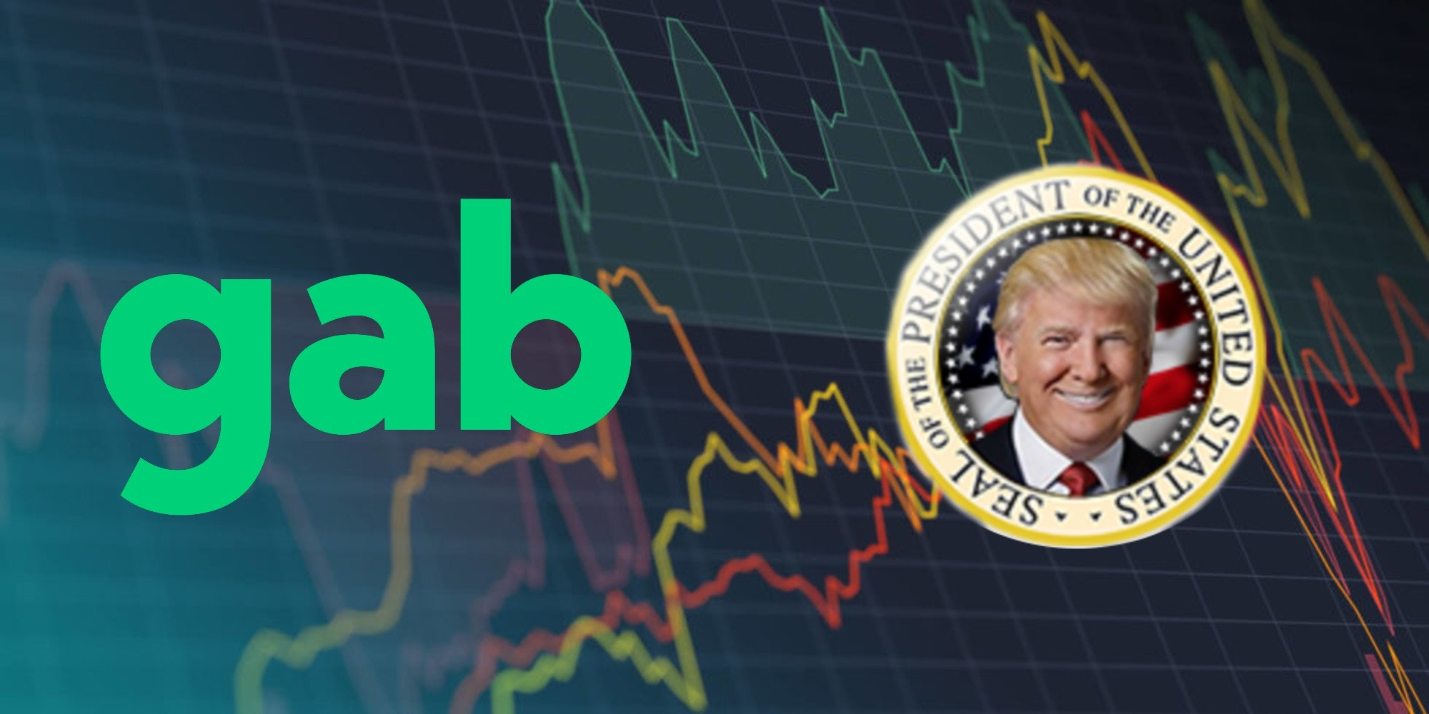 Logos for Gab and Patriot.win over a stock chart