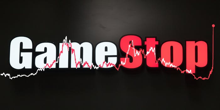 gamestop sign with stock value represented by a line graph