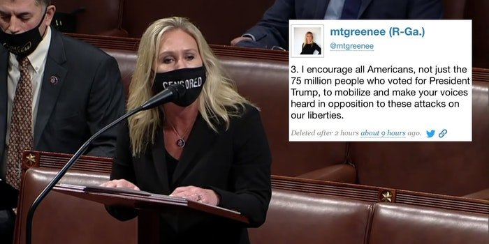 Rep. Marjorie Taylor Greene next to a deleted tweet