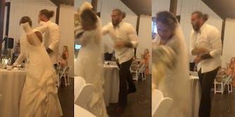 groom throws cake at bride tiktok