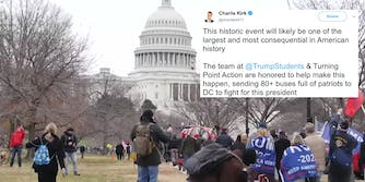A tweet from Charlie Kirk over the Capitol