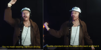 rapper macklemore performs new song 'trump's over freestyle'