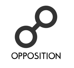 Opposition symbol on natal chart reports looks like two circles connected by a line in the middle.