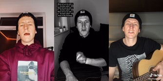 Nathan Evans singing on TikTok in three different videos