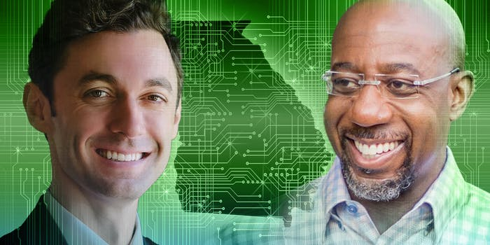 Senators Jon Ossoff and Raphael Warnock in front of shape of the state of Georgia with circuitboard overlay