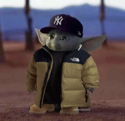 Image of Baby Yoda looking up meme dressed up in North Face and Timbs.