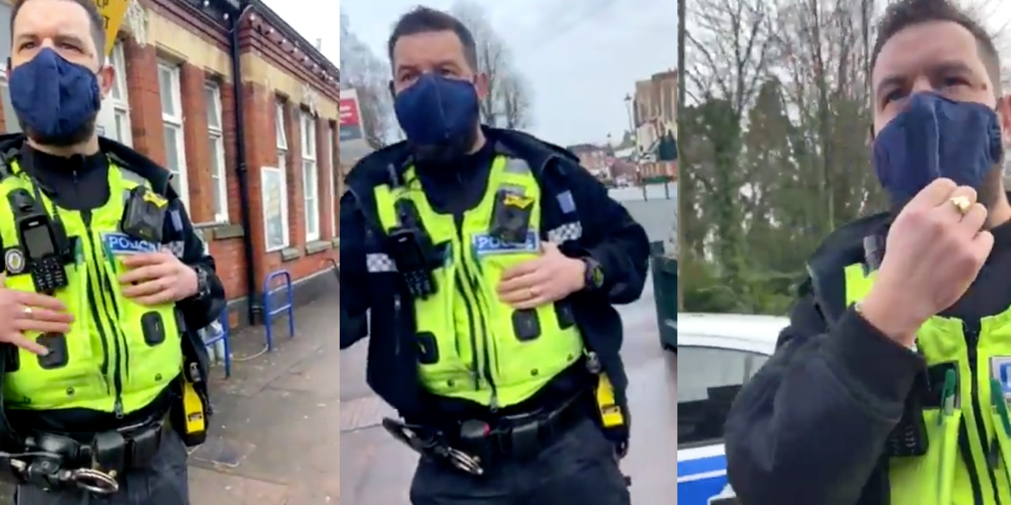 Video shows U.K. police detaining man who wouldn't say his name.
