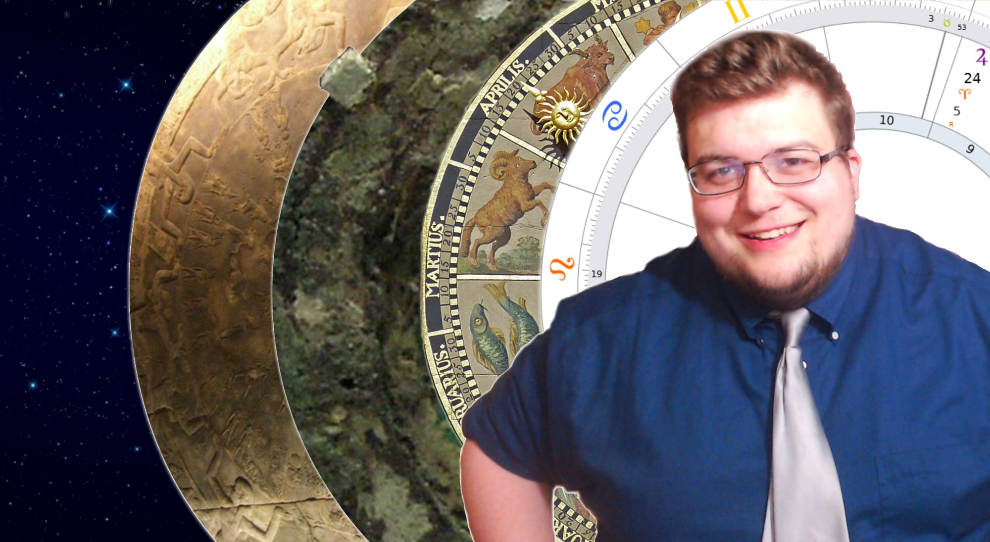 Photo of Patrick smiling with a close up of an astrology chart set as the background.